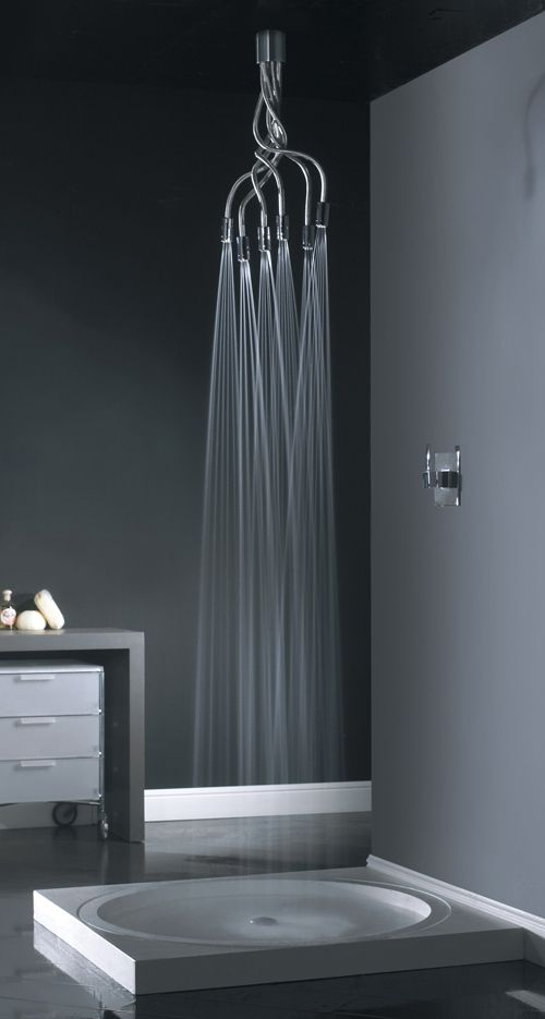 """Spider shower head by Visentin. This ceiling- or wall-mounted design features six flexible """"legs"""" with jets that you can angle as you like 'em."""