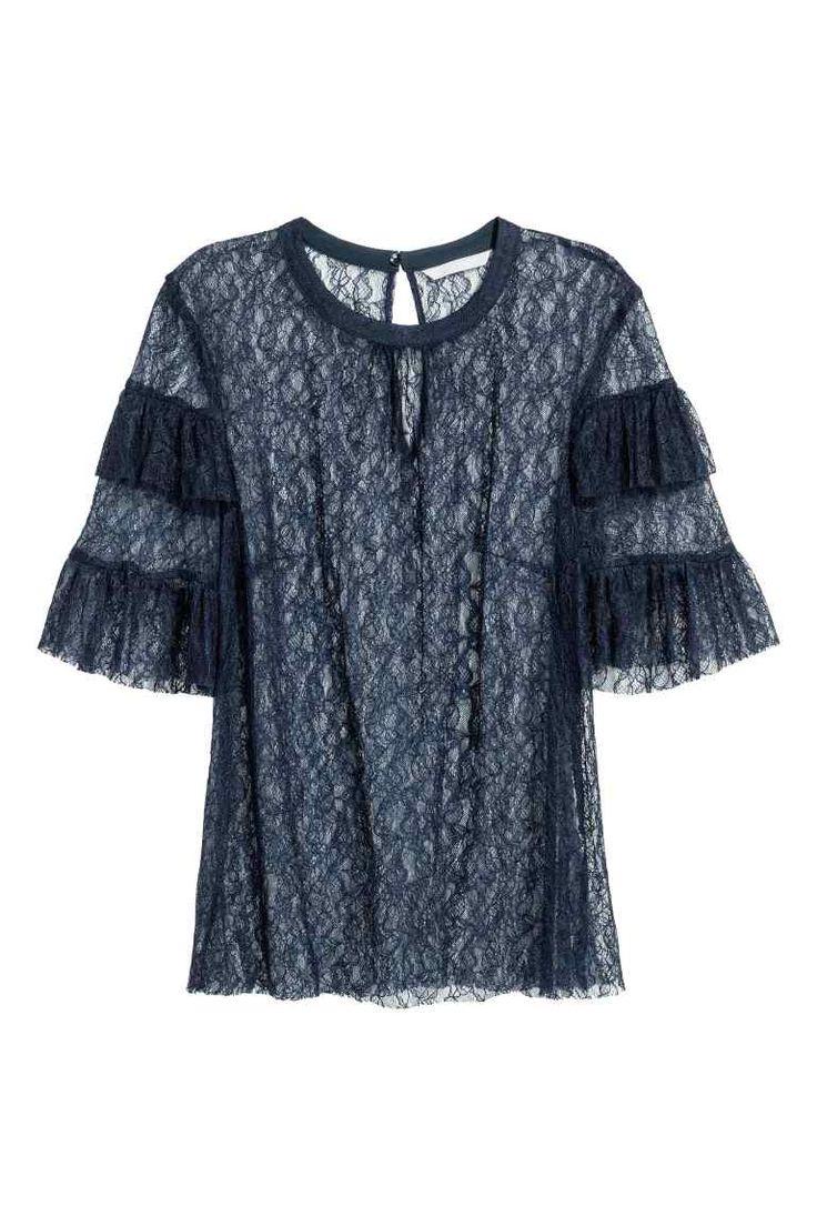 Kanten blouse - Donkerblauw - DAMES | H&M NL