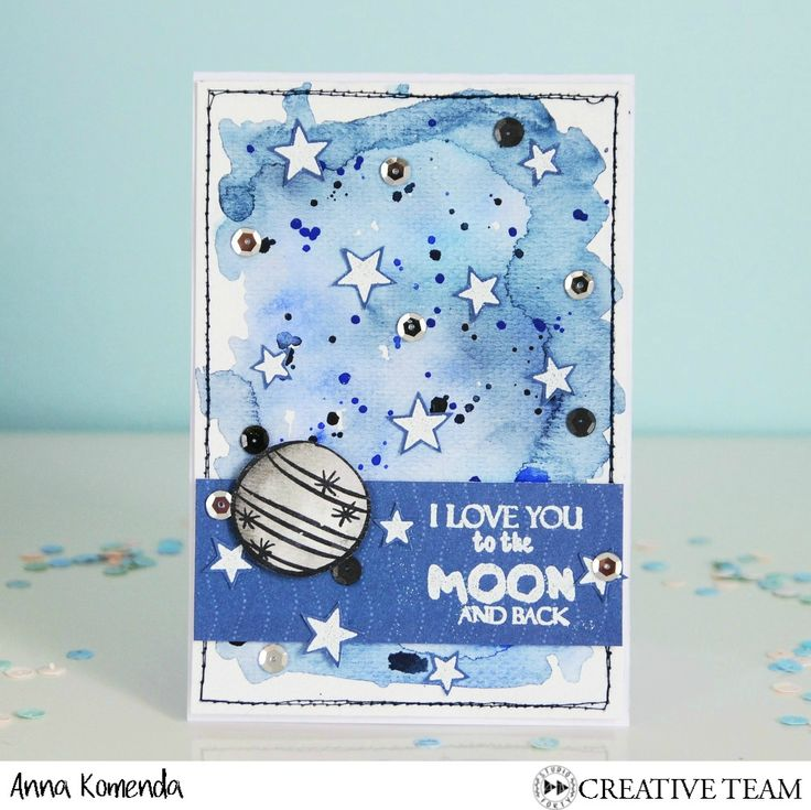Beautiful moon card made by Moriony-Ania Komenda, using stamps from StudioForty.pl . There is also a video tutorial on the blog.