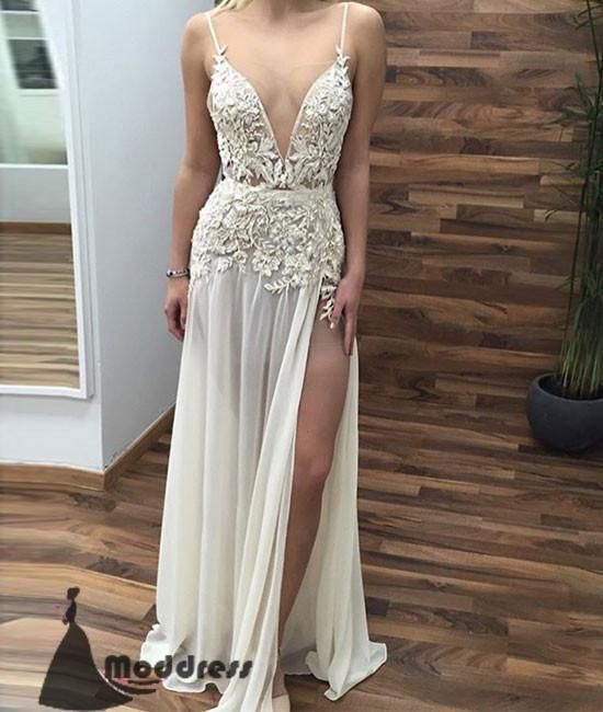 cf271b097fd Ivory V-Neck Long Prom Dresses Lace Applique Evening Dress with High Slit
