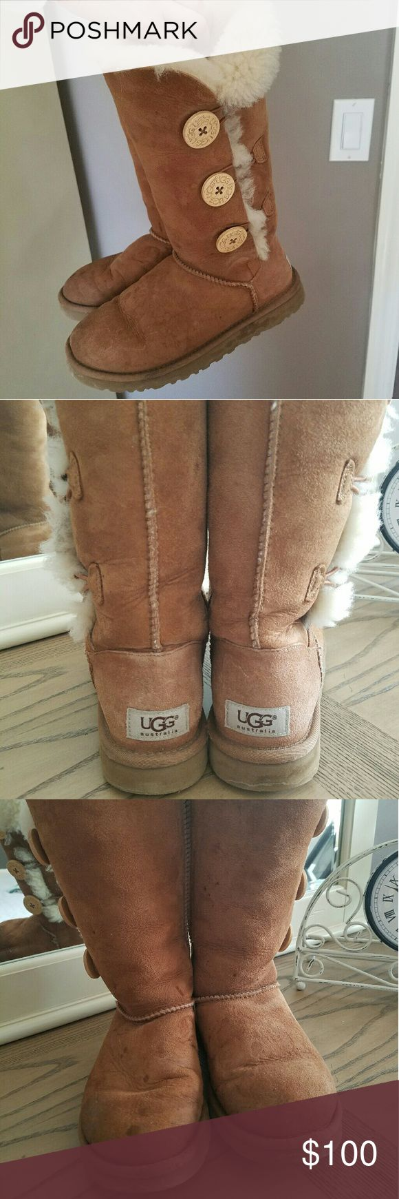Ugg size 6 bailey triple button boots Pre-loved uggs! Size 6, but I wear a 5.5 normally but I always wore these with thick socks. I never sprayed them, but they can be professionally cleaned by most local dry cleaners. They still have a lot of life left! I never tried to get them cleaned, I'm sure they would turn out great! UGG Shoes Winter & Rain Boots