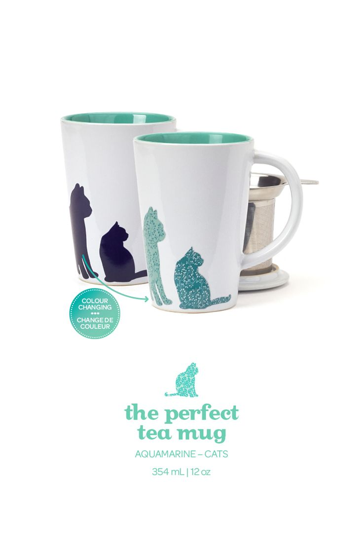 When you add hot water to this mug, the cats change colour! It's purr-fect.