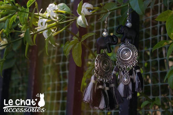 Excited to share the latest addition to my #etsy shop: Black & White Elephant Tassel Bohemian Earrings http://etsy.me/2ABRcLg #jewelry #earrings #animal #animals #yes #boho #silver #bohoearrings #elephant