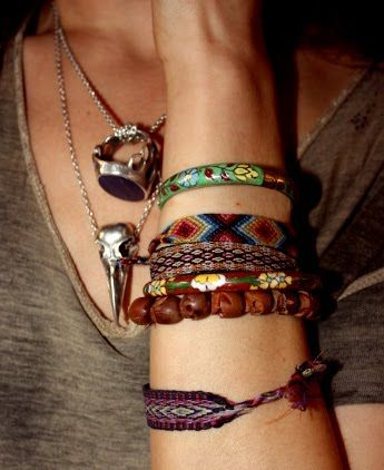 I like the stacked effect of different types of bracelets. I need to learn how to do the woven ones for myself.