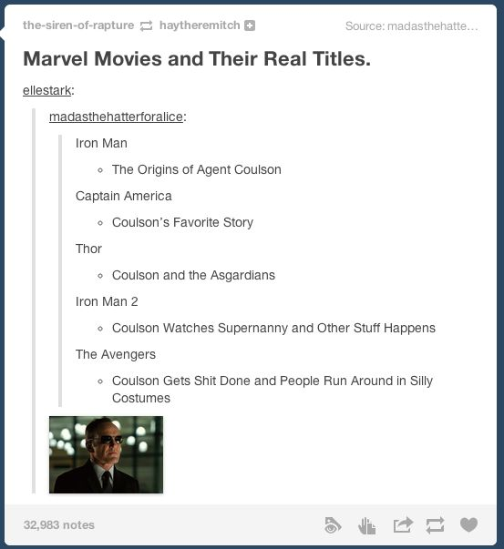 Marvel Movies and their real titles (aka Coulson's everywhere!)