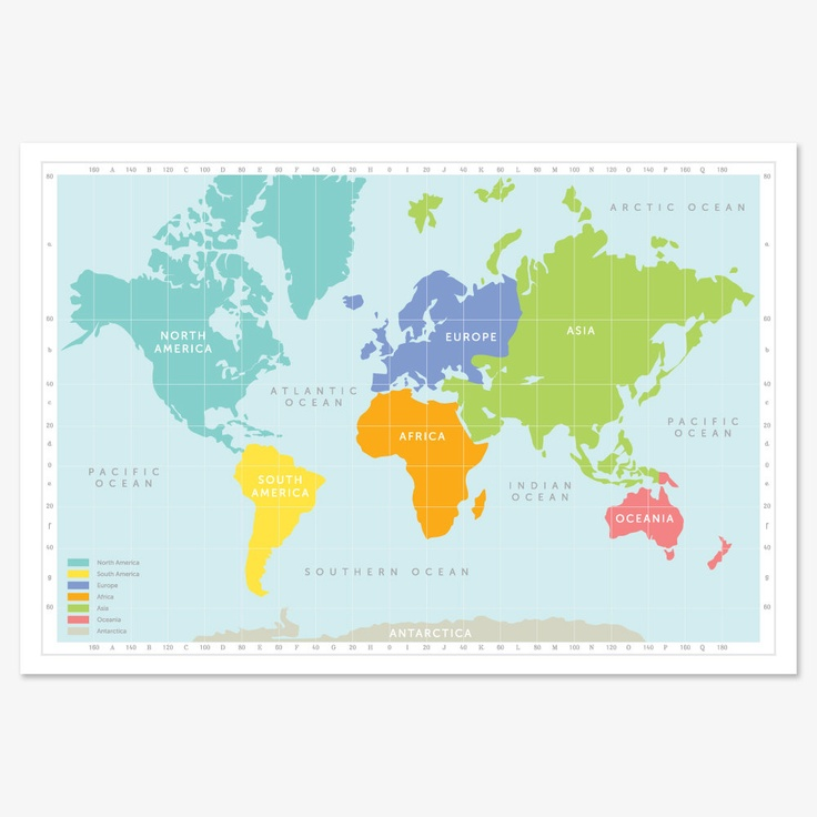 Continental World Map Print - Asian to us on world map