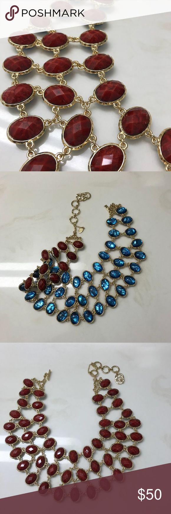 Amrita Singh Hampton Reversible Bib Necklace This never been worn reversible necklace is such a statement piece. One side has ruby stones while the other has crystal blue stones. Amrita Singh Jewelry Necklaces