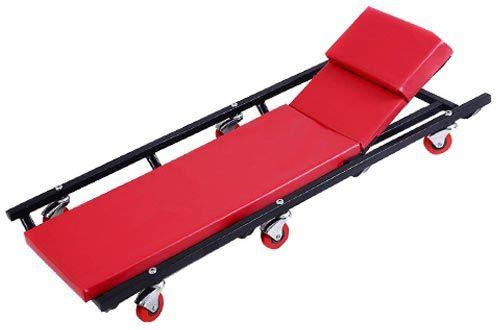 Mechanics Creeper Seat Foldable Garage Cart Rolling Padded Stool Car Shop Tool