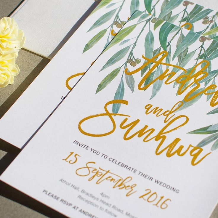 Possibly the cutest gum nuts on earth  We love this gorgeous Australian countryside getaway in a card. #paper #print #paperlust #gold #goldfoil #foil #metallic #metallicink #digital #australian #australia #native #gumnuts #typography #design #wedding #weddinginvitations #invitations #weddinginspiration #backyardwedding