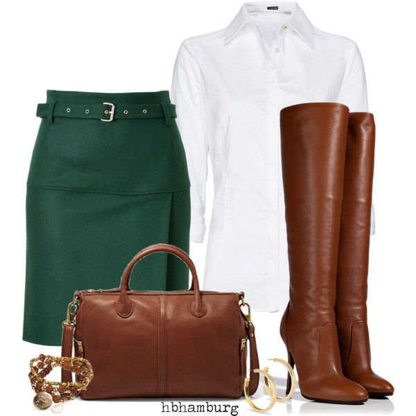 """""""No. 306 - Green skirt"""" by hbhamburg on Polyvore"""