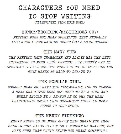 Infographic: 4 character stereotypes you need to banish from your writing. #writing #writingtips
