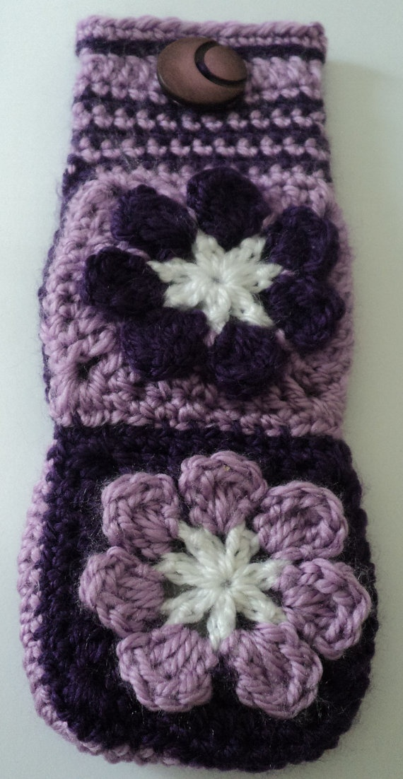VIOLET FLOWERS crochet CASE with button by IstanbulMystique, $12.95