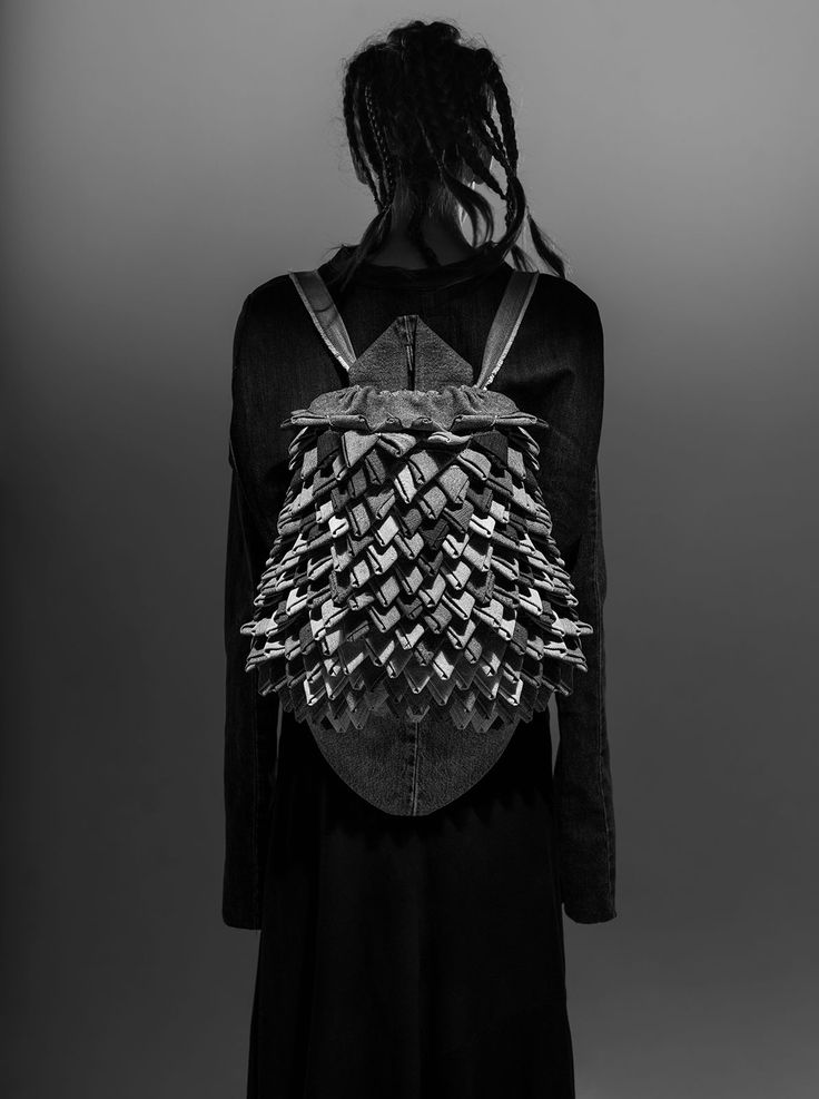 MEM RVT SPIKE backpack | Weecos The most ecological fashion collection in the world has been designed by Finnish Master Seamstress and recycle fashion designer Paula Malleus. MEM is made entirely from post consumer waste (used second hand jeans). Upcycle, eco fashion, recycled jeans, recycle denim, recycle fashion, sustainable, responsible. MEM RVT17 (REVOLT2017) LOOKBOOK Style: Paula Malleus Photos: Kanerva Mantila Photography Makeup: Meghna Mukherjee Model: Sylvia Waltzer