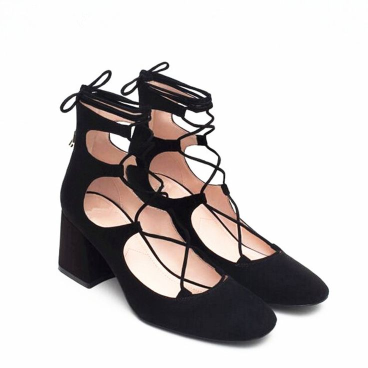Brand Womens Shoes Lace Up Mid Heel Black Pumps 6CM High Heels Ankle Strap Ladies Shoes Woman High Heels Shoes Pumps B-0041