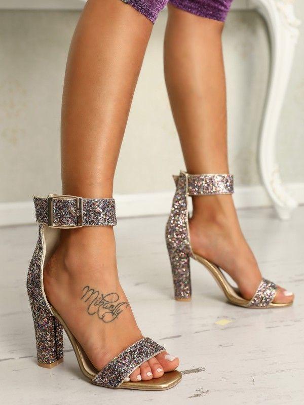 dfe7608ba2ac Stylish Sequin Open Toe Chunky Heeled Sandals. Shoes ...