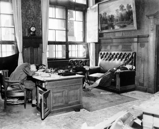 A wave of mass suicides swept Nazi Germany at the close of WW2. Here, the Deputy Mayor of Leipzig and his wife and daughter, committed suicide in the Neues Rathaus as American troops were entering the city on 20 April 1945.