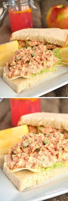 The Best Tuna Salad recipe ever~ Solid white Albacore tuna is marinated with capers, roasted red peppers and fresh lemon juice. Add the mayo and celery right before serving.