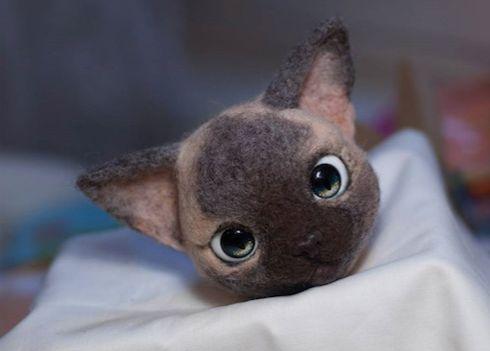 Cute Needle felting wool animals cute Siamese cat (Via @olesyagavr)