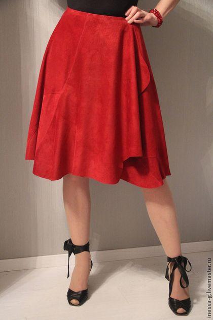 Замшевая юбка винного цвета - бордовый,однотонный,красная юбка,красная одежда