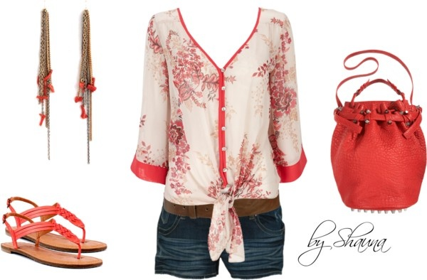 """""""coral trimmed kimono style shirt with gorgeous coral accessories"""" by shauna-rogers on Polyvore"""