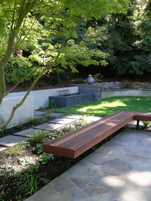 backyard bench/pathWooden Benches, Contemporary Landscapes, Backyards Design, Outdoor Benches, Landscapes Architecture, Landscapes Design, San Francisco, Retaining Wall, Gardens Benches