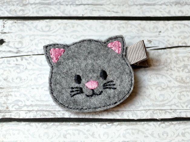 Kubazu* spinka filcowy kot * handmade - Kubazu - Spinki do włosów dla dzieci