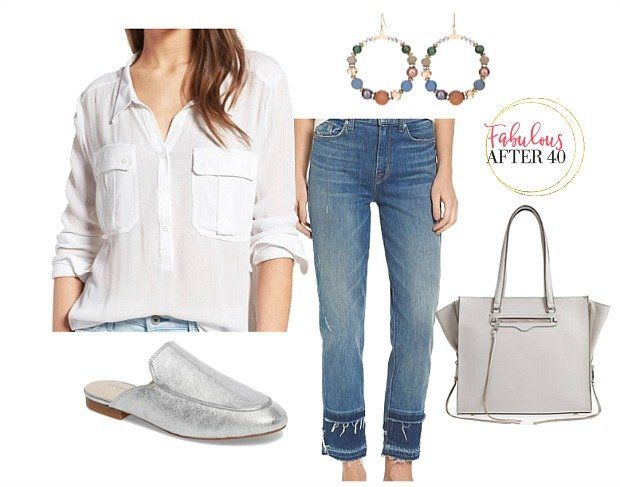 Two-tone jeans, raw hem jeans for women over 40   Fabulous After 40