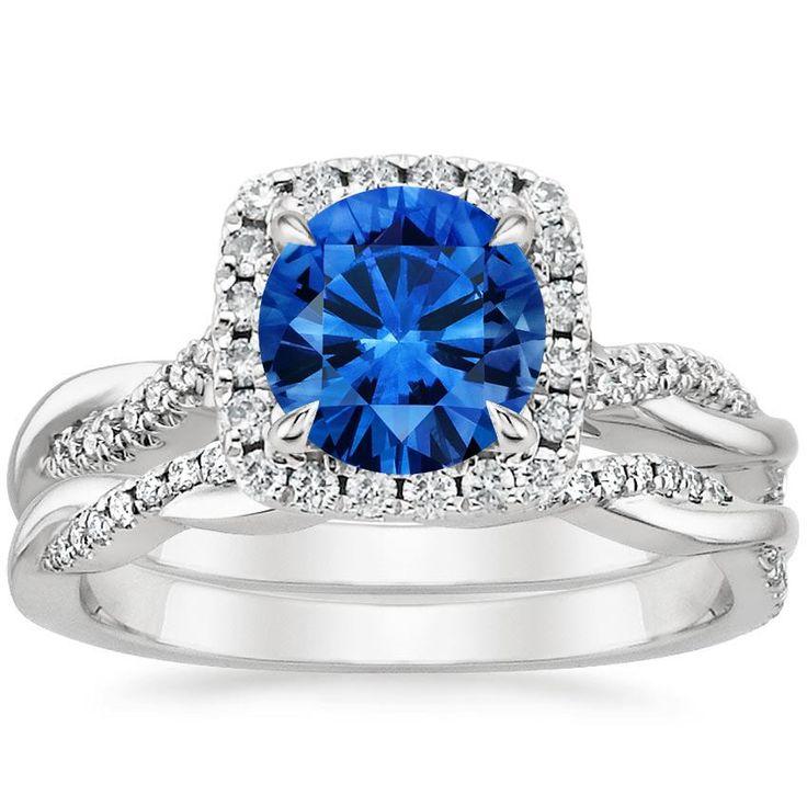 Blue Sapphire Petite Twisted Vine Halo Engagement Ring