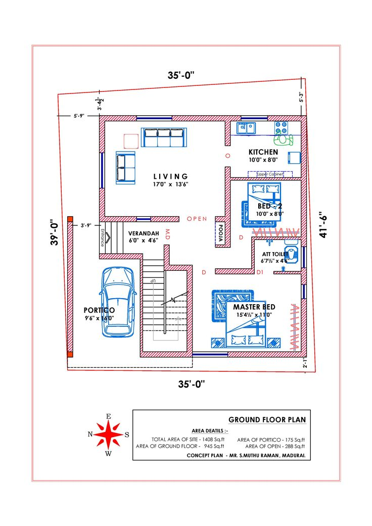 West facing vastu3 Indian house plans House plans with