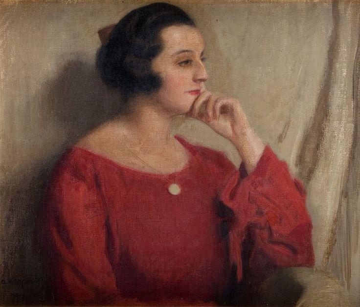 Alfons Karpiński (1875 Rozwadów k. Tarnobrzegu - 1961 Kraków) Portret kobiety w czerwonej sukni, 1918 r.