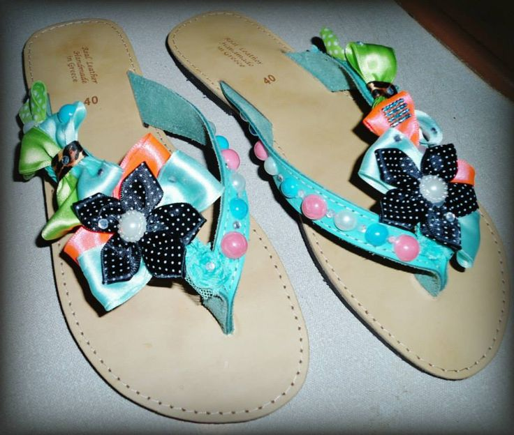 handmade decorated sandal with fancy flower ribbons,pearls and bows #summer #sandals #handmade #χειροποιητα #σανδαλια #flower #pinup #pearls #applique
