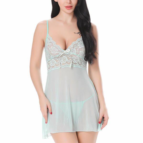 Plus Size Sexy Lace Bowknot Women Sleepwear at Banggood