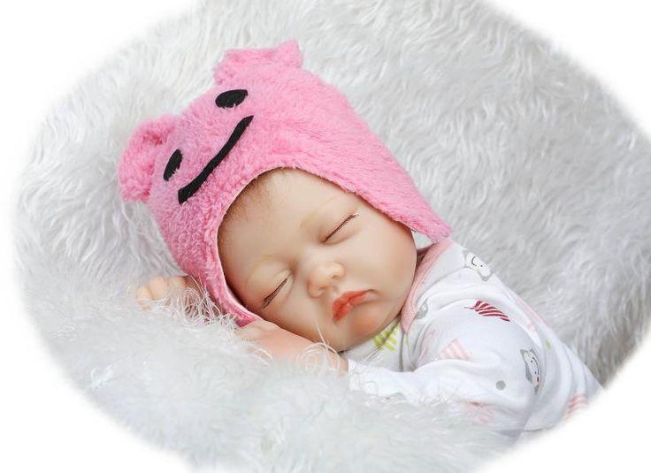 89.99$  Watch now - http://aliecu.worldwells.pw/go.php?t=32692142928 - 22 inch 55 cm baby reborn Silicone dolls, lifelike doll reborn Cute pink smile hat sleeping baby 89.99$