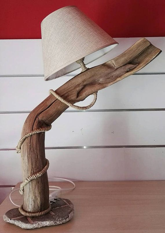 Arte de madera de mesa lámpara escultura mesa madera lámpara luz hecho a mano Shabby raíz árbol tronco diseño abat jour botella kj