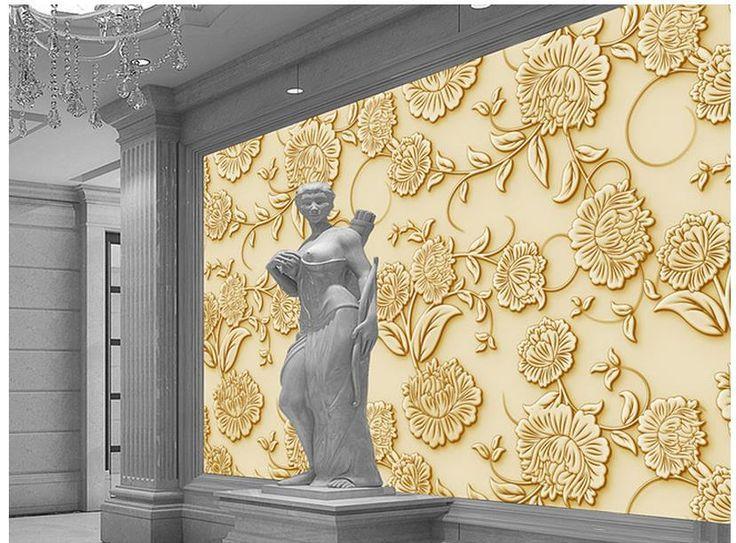 Papel de parede papel de parede hd ouro pintura decorativa for Pintura decorativa efeito 3d