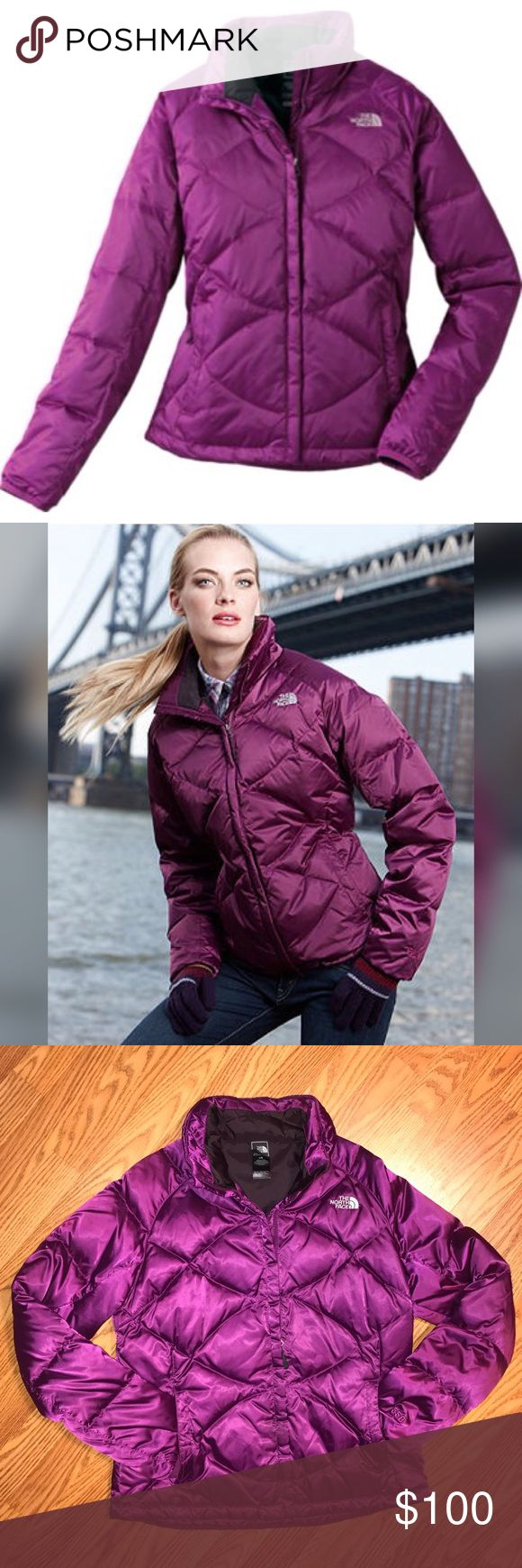 The North Face Women's Aconcagua Goose Down Jacket Slimming crisscross stitching gives this warm, comfortable jacket an updated look. Satin nylon shell with a durable water-repellent finish resists moisture. 550-fill-power goose down. Two hand pockets. Hem cinch cord. Imported. * Slimming crisscross stitching * Smooth, satin nylon shell * Durable water-repellent finish * 550-fill-power goose-down insulation The North Face Jackets & Coats Puffers