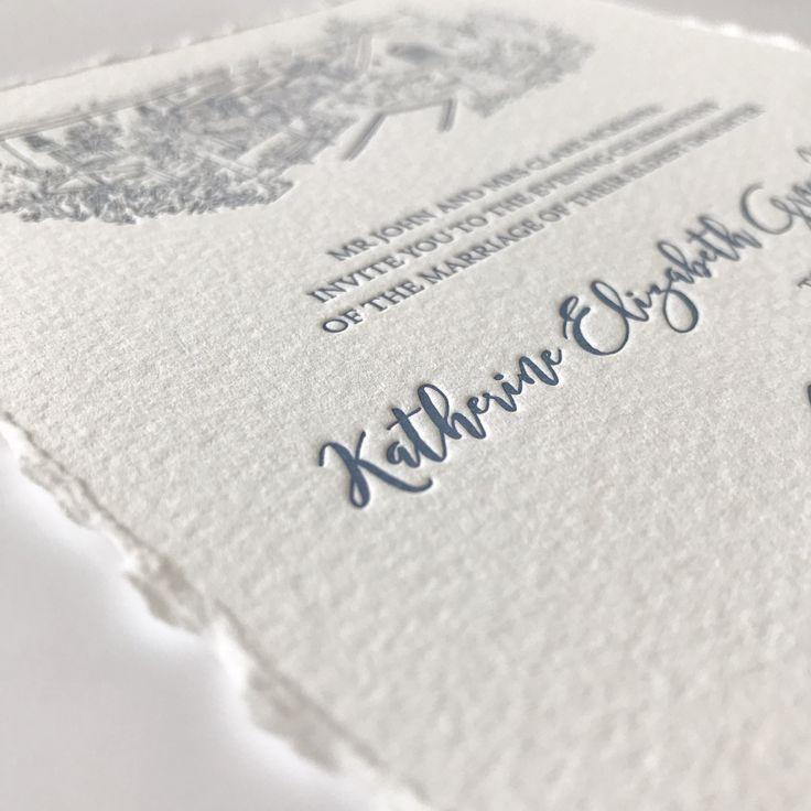 Luxury letterpress wedding invitation with hand deckled