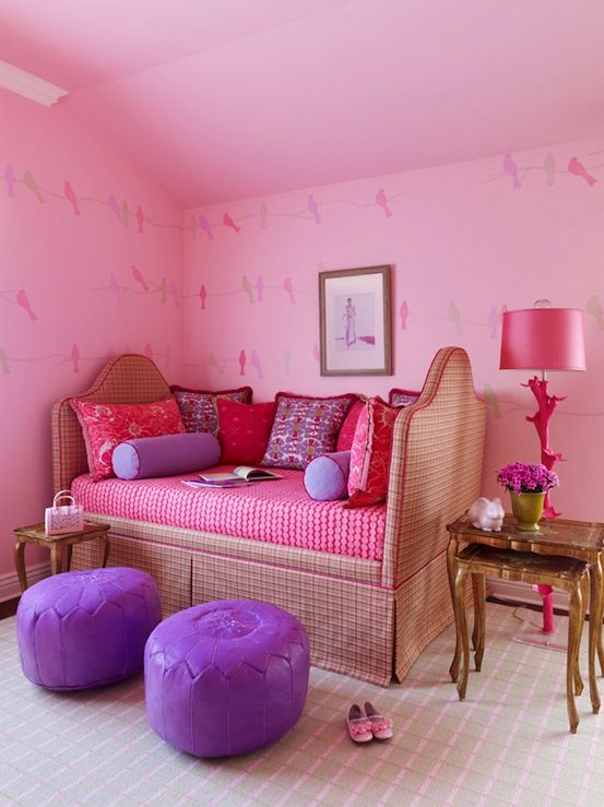 girl's rooms - hot pink branch floor lamp gingham upholstered daybed purple leather poufs nesting tables pink walls pink purple pillows  Pink