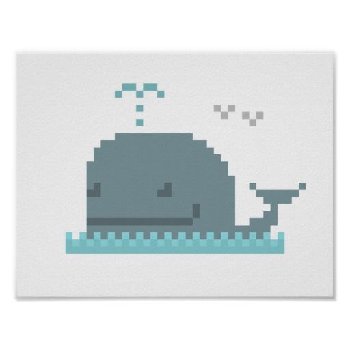 Whale Pixel Art Poster