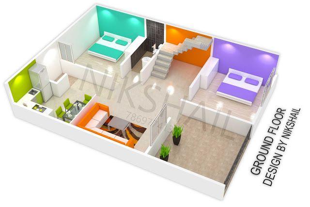 25x35 House Plan With 3d Elevation By Nikshail Single Floor House Design House Plans House Front Design