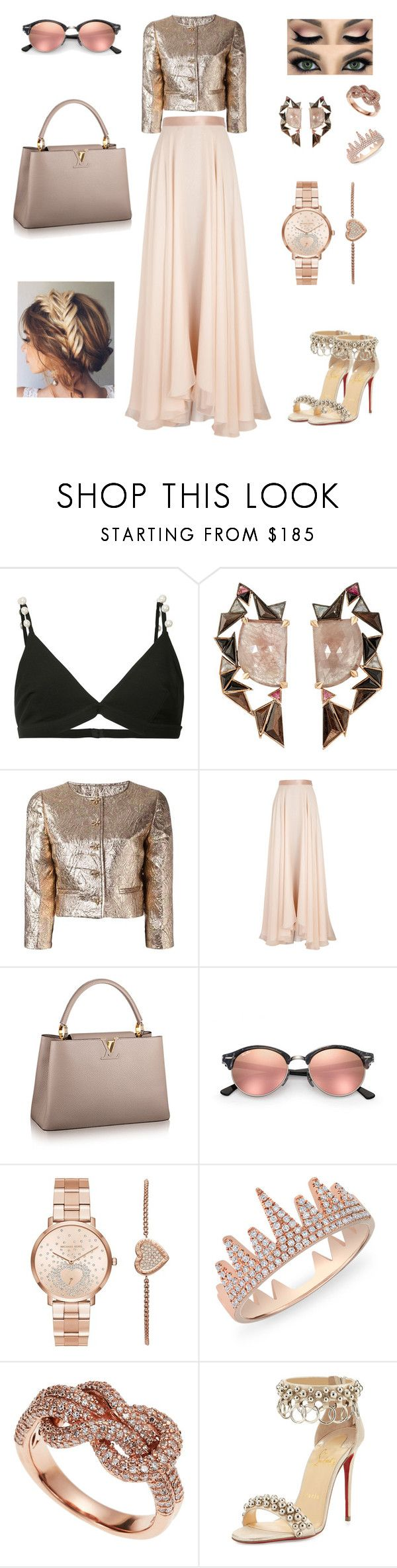 """""""Reverent Chic"""" by iffieluv ❤ liked on Polyvore featuring Givenchy, Nak Armstrong, Oscar de la Renta, Lanvin, Ray-Ban, Michael Kors, Anne Sisteron, Effy Jewelry and Christian Louboutin"""