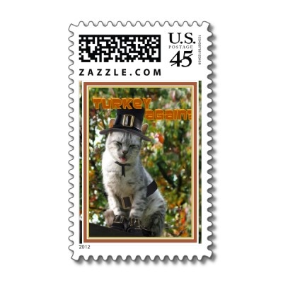 TURKEY AGAIN? Pilgrim Cat Postage Stamp by #FallSeasonsBest  shipping to Chicago, IL #thanksgiving #pilgrim
