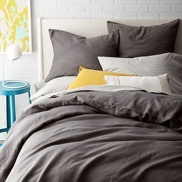 One idea if the headboard is cream -- Belgian Linen Duvet Cover + Shams & ndash; Slate #westelm. Bring in pops of color (not necessarily these colors)