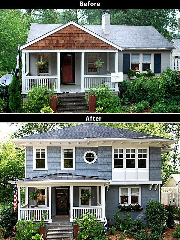 Before and after pictures of ranch second story additions for Renovate front of house