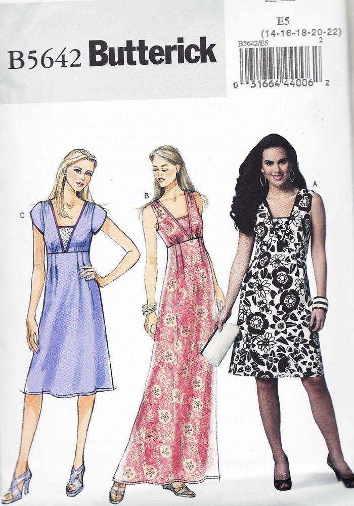 Vintage Butterick B5642 Women's A line Dress, Empire Waist