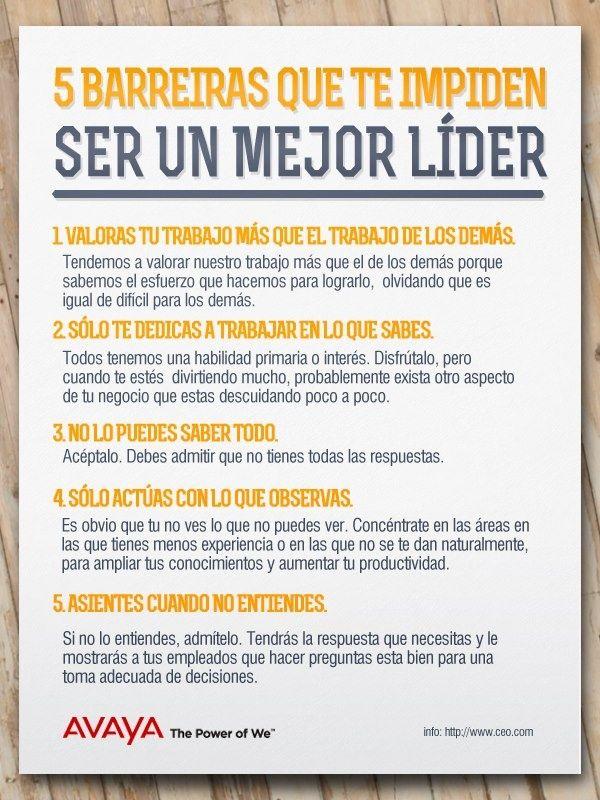 ¿Intentas ser un mejor líder pero no lo logras? Luis Fernando Heras Portillo te deja estas 5 barreras que de seguro te impiden ser un mejor líder. Es muy importante que sepas como ser un líder, ya que esto te puede llevar a fracasar en tu empresa o salir adelante.