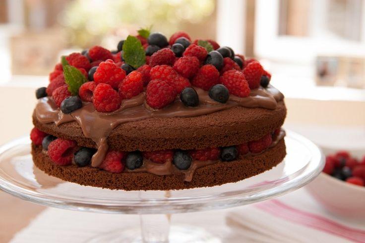 #baking #chocolate #spongecake #berries #delicious