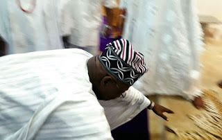 See photos of former President Obasanjo Prostrating for the Ooni Of Ife