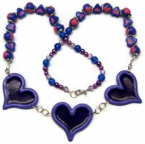 Purple Polymer Clay Heart Necklace with Pink and Blue Heart Beads