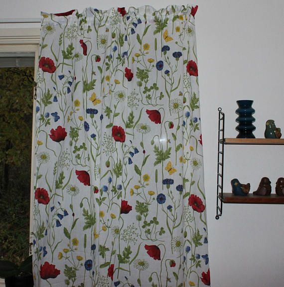 Lovely vintage pair of summer Curtain lengths with colorful